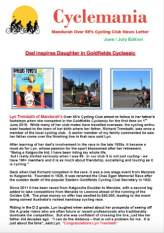 Mandurah Over 55 Cycle Club | Club Newsletters